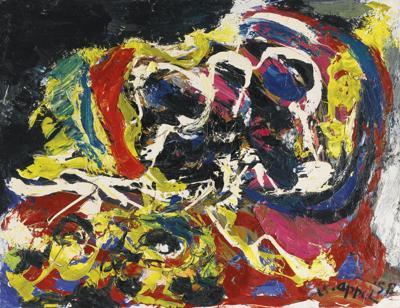 Karel Appel-Two Heads In A Landscape-1958