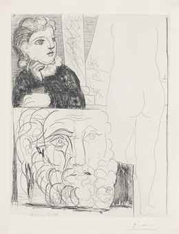 Pablo Picasso-Femme Accoudee, Sculpture De Dos Et Tete Barbue, From: La Suite Vollard-1933