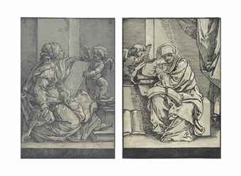 Bartolomeo Coriolano-Bartolomeo Coriolano, after Guido Reni - Two Sybils-1640