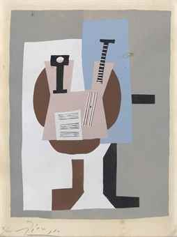 Pablo Picasso-After Pablo Picasso - Musicien A La Table, From: Dix Pochoirs-1920