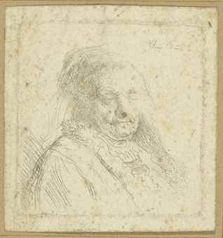 Rembrandt van Rijn-(i) The Artist's Mother, Head And Bust: Three Quarters Right; (ii) Christ seated disputing with the Doctors (B., Holl. 64; H. 277; New Holl. 281)-1628
