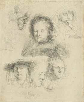 Rembrandt van Rijn-Studies Of The Head Of Saskia And Others-1636