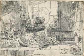 Rembrandt van Rijn-The Virgin And Child With The Cat And The Snake-1654
