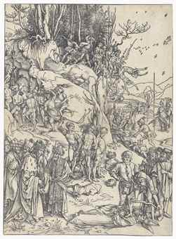 Albrecht Durer-(i) The Martyrdom Of The Ten Thousand; (i) Saints Nicholas, Ulrich and Erasmus-1510