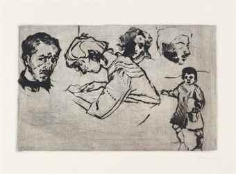 Umberto Boccioni-Quattro Ritratti E Un Bambino-1909