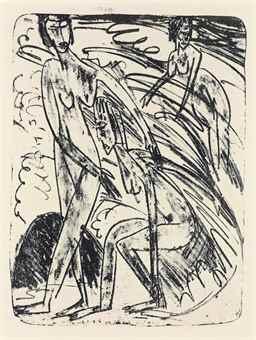Ernst Ludwig Kirchner-Badende In Wellen-1913