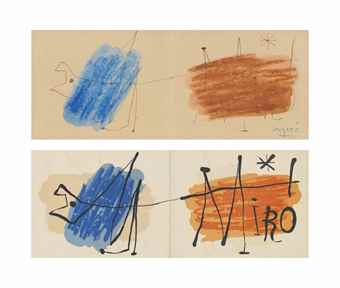 Joan Miro-(i) Invitation Exhibition Galerie Matarasso, Nice, 1957: Preparatory Drawing; (ii) Exhibition at the Galerie Matarasso-1957