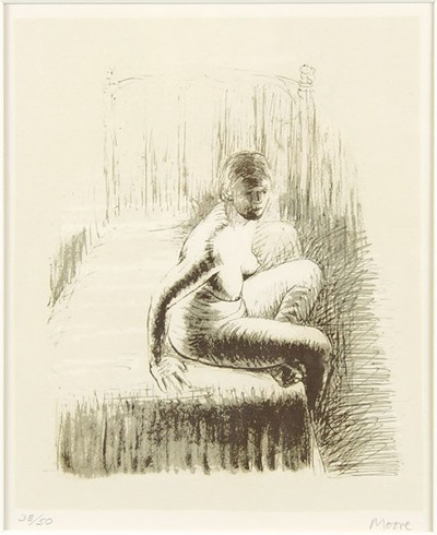 Henry Moore-Female Figure With Gray Background-