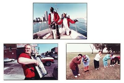 Bruce Davidson-Three Works: 'Korean Women', 'Sailing on Lake Michigan', and 'Accordion Player'-1990