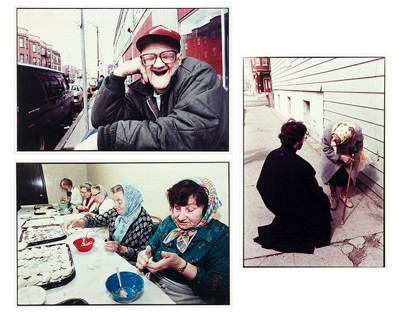Three Works: 'Priest Greeting Elderly Woman', 'Man Waiting for a Bus', and 'Ukrainian Women Making Pierogies'-1990