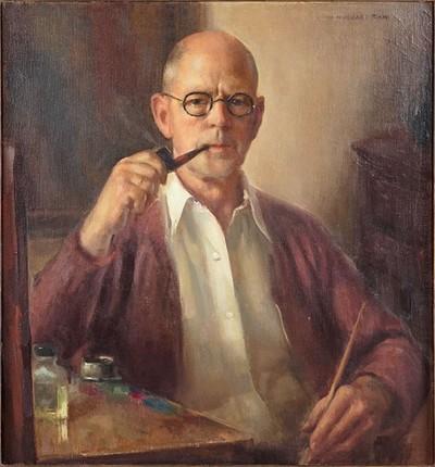 John Hubbard Rich-Self Portrait with Pipe-