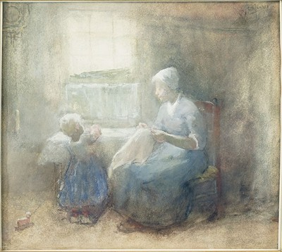Frederick Frits Johannes Jansen-The Sewing Lesson-