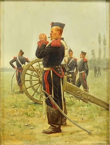 Charles Merlette-Lighting His Pipe-