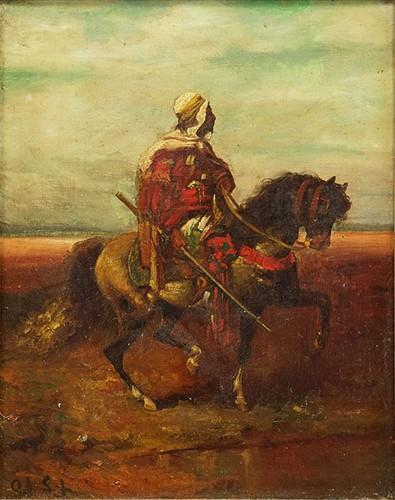 Adolf Schreyer-Attributed to Adolf Schreyer - Arab on Horseback-