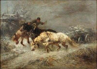 Adolf Schreyer-Attributed to Adolf Schreyer - The Snow Storm-