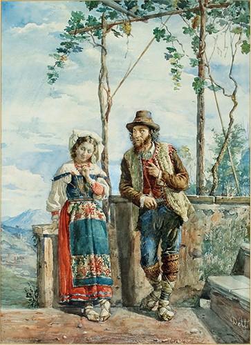 Cesare Auguste Detti-An Italian Peasant Couple-