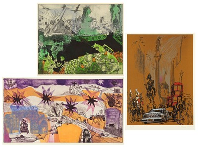 Warrington Colescott-Two Color Intaglio Prints: Verdun: Attack' and 'Souvenir Pictures of the Great War'; Color serigraph by Feliks Topolski-1971