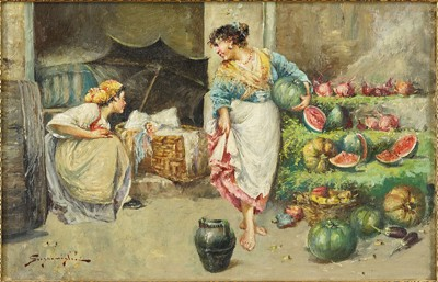 Edwardo Scognamiglio-Two Women Selling Watermelons-