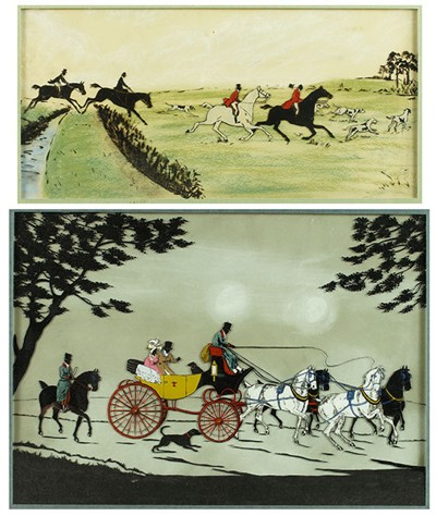 Artist Unknown - Two Reverse Paintings on Glass: 'Coaching Scene' and 'Fox Hunt'-