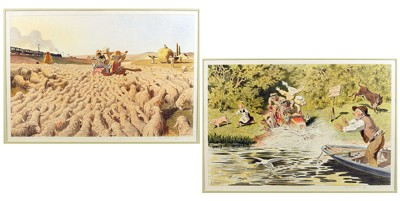 Two Color Lithographs: 'Bloc' and 'Apelai le Paseur'-