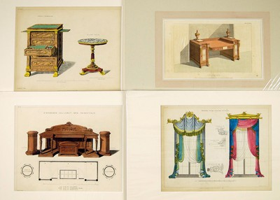 A Collection of 19th Century Historical Furniture and Decoration Prints-