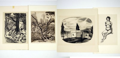 Ernest Fiene-Snug Harbor; 'Nudes' by Ida Abelman, 'Central Park' by Otto Wackernagel; Unsigned lithograph-1928