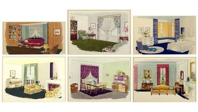 A Set of Six Prints Depicting 1940's Interiors-