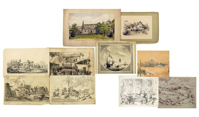 A Collection of 19th / Early 20th Century Works on Paper: 'Turville Heath'; 'Kitchen'; 'Thames'; 'Tintern Abbey'-1942