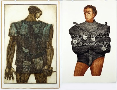 Dean Meeker-Two color intaglio prints: 'Houdini' and 'Return of Ulysees'-
