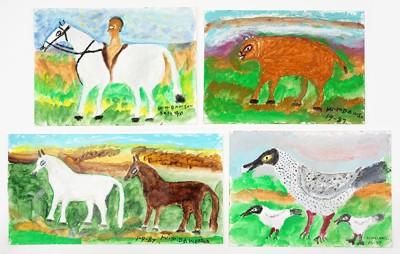 William Dawson-Four Oil Pantings: Dogs; Birds; Two Horses; Man on Horseback-1990