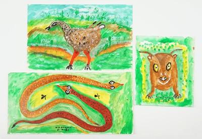 William Dawson-Three Oil Paintings: Snakes, Dog, Bird-1989