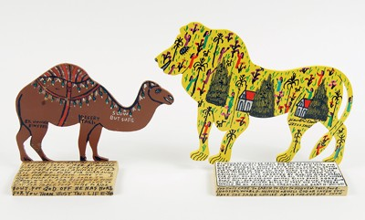Howard Finster-Two Works: 'Lion' and 'Camel'-1990
