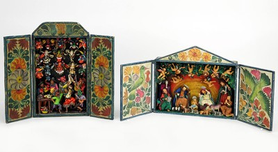 Two Peruvian Retablos-
