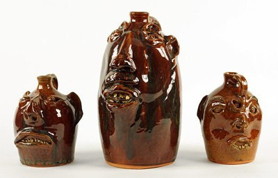 Three Brown's Pottery Face Jugs-1989