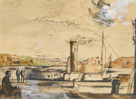 John Minton-A Trawler At A Quay Side-