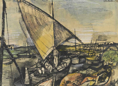 John Minton-Boats At Valencia-1949