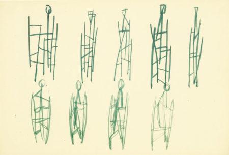 Robert Adams-Untitled Sketches For Figurative Sculptures-1948