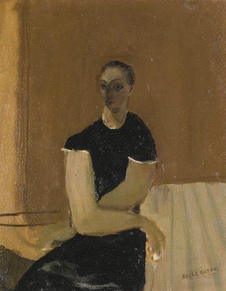 Roger Hilton-Portrait Of A Woman In A Black Dress-