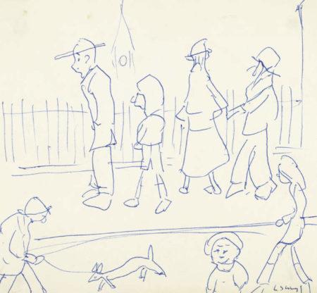 Laurence Stephen Lowry-Street Scene With Figures-