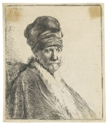 Rembrandt van Rijn-Bust Of A Man Wearing A High Cap, Three-Quarters Right: The Artist's Father (?) (B., Holl. 321; New Holl. 57; H. 22)-1630