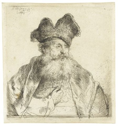 Rembrandt van Rijn-Old Man With A Divided Fur Cap (B., Holl. 265; New Holl. 182; H. 170)-1640