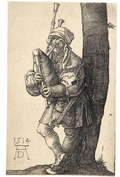 Albrecht Durer-The Bagpipe Player (B. 91; M., Holl. 90)-1514