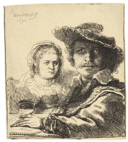 Rembrandt van Rijn-Self-Portrait With Saskia (B., Holl. 19; New Holl. 158; H. 144)-1636