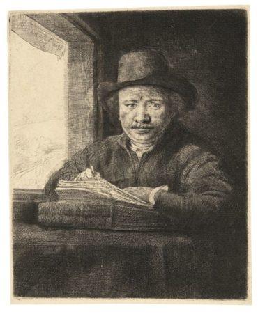 Rembrandt van Rijn-Self Portrait Drawing At A Window (B., Holl. 22; New Holl. 240; H. 229)-1648