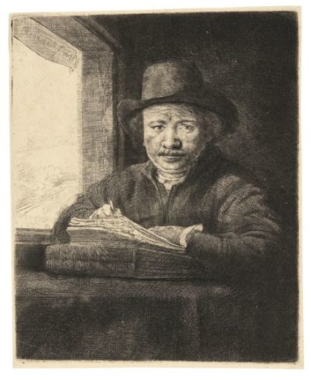 Rembrandt van Rijn-Self Portrait Drawing At A Window (B., Holl. 22; New Holl. 240; H. 229)-1648