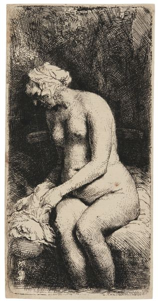 Rembrandt van Rijn-Woman Bathing Her Feet At A Brook (B., Holl. 200; New Holl. 309; H. 298)-1658