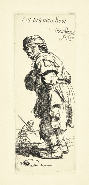 Rembrandt van Rijn-A Peasant Calling Out: 'Tis Vinnich Kout' (B., Holl. 177; New Holl. 131; H. 114)-1634