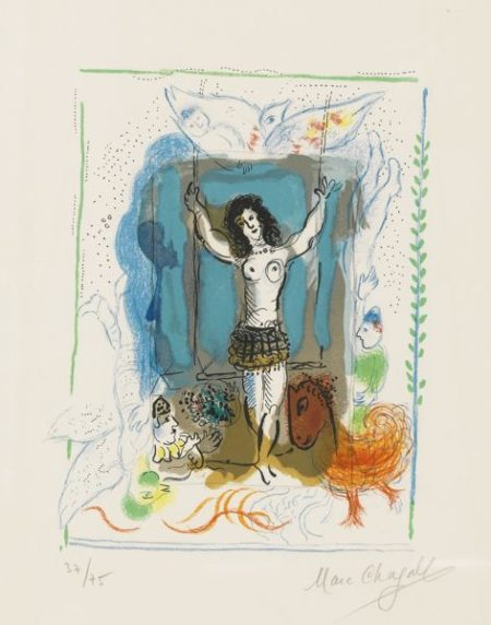 Marc Chagall-Trapeze Acrobat With Bird (M. 477A)-1967