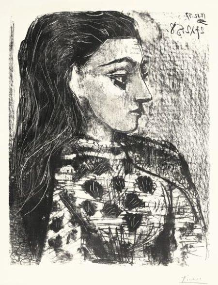 Buste Au Corsage A Carreaux (B. 850; Mourlot, Picasso Project 308)-1958
