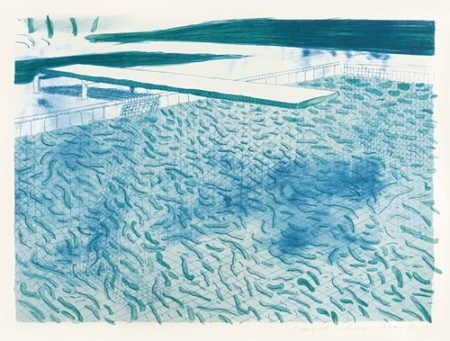 David Hockney-Lithograph Of Water Made Of Lines, A Green Wash, And A Light Blue Wash (Mca Tokyo 205)-1980